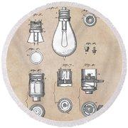 patent art Edison 1890 Lamp base Round Beach Towel