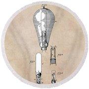 patent art Edison 1892 Incandescent electric lamp Round Beach Towel