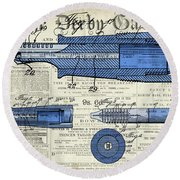 Patent, Old Pen Patent,blue Art Drawing On Vintage Newspaper Round Beach Towel
