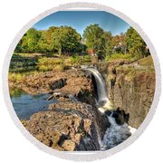 Paterson Water Falls Black And White Round Beach Towel