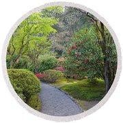 Path At Japanese Garden Round Beach Towel