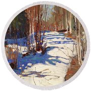 Path Behind Mowat Lodge Round Beach Towel