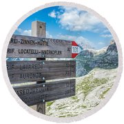 Path Directions Round Beach Towel