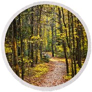 Path In Fall Forest Round Beach Towel