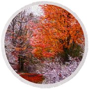 Path In Fall With Early Snowfall Round Beach Towel