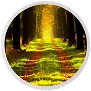 Path In The Forest 715 - Painting Round Beach Towel