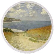 Path In The Wheat At Pourville Round Beach Towel