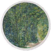Path In The Woods Round Beach Towel
