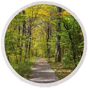 Path In The Woods During Fall Leaf Season Round Beach Towel
