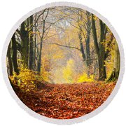 Path Of Red Leaves Towards Light Round Beach Towel