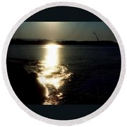 Path Of Sunlight On The Sea Round Beach Towel