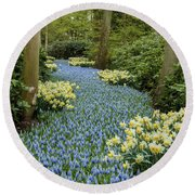 Path Of The Beautiful Spring Flowers Round Beach Towel