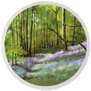 Path Through Bluebell Wood Round Beach Towel