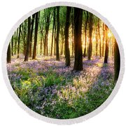 Path Through Bluebell Woods Round Beach Towel