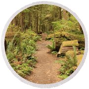 Path Through Mossy Forest Round Beach Towel
