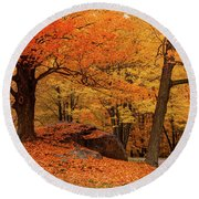 Path Through New England Fall Foliage Round Beach Towel