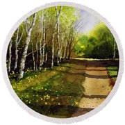 Path Through Silver Birches Round Beach Towel