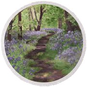 Path Through The Bluebells Round Beach Towel by Brandy Woods