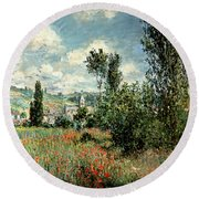 Path Through The Poppies Round Beach Towel by Claude Monet