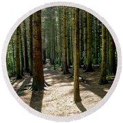 Path Through The Woods. Round Beach Towel