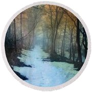 Path Through The Woods In Winter At Sunset Round Beach Towel