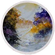 Path To ... Watercolor  Round Beach Towel