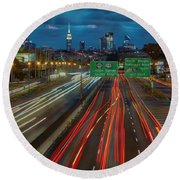 Path To And From Nyc Round Beach Towel