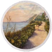 Path To Bacara , With Golden  Round Beach Towel