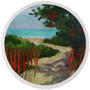 Path To Delray Beach 1 Round Beach Towel