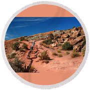 Path To Double O Arch Arches National Park Round Beach Towel