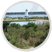 Path To Edgartown Lighthouse Round Beach Towel