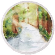 Path To Light Watercolor Round Beach Towel