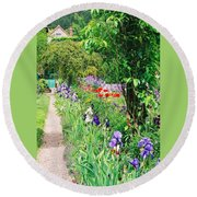 Path To Monet's House Round Beach Towel