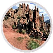 Path To Red Rocks Round Beach Towel