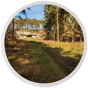 Path To St Cuthbert's Cave Round Beach Towel