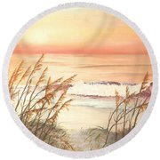 Path To Sunlit Waters Round Beach Towel