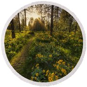 Path To The Golden Light Round Beach Towel