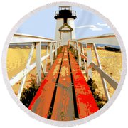 Path To The Lighthouse Round Beach Towel