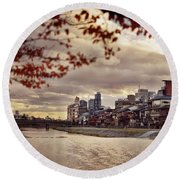 Pathway Along Kamo River In A Beautiful Dramatic Autumn Sunset S Round Beach Towel