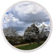 Pathway Along The Dogwood Trees Round Beach Towel