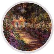 Pathway In Monet's Garden Round Beach Towel