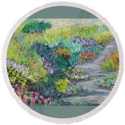 Pathway Of Flowers Round Beach Towel