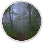 Pathway Through The Fog Round Beach Towel