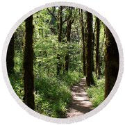 Pathway Through The Woods Round Beach Towel