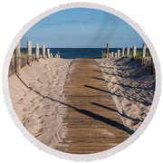 Pathway To Beach Seaside New Jersey Round Beach Towel
