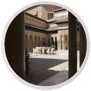 Patio De Los Leones Nasrid Palaces Alhambra Granada Round Beach Towel