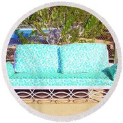 Patio Invitation Palm Springs Round Beach Towel