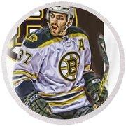 Patrice Bergeron Boston Bruins Oil Art 1 Round Beach Towel