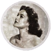 Patricia Medina, Vintage Actress Round Beach Towel