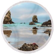 Patrick And Friends Visit Cannon Beach Round Beach Towel